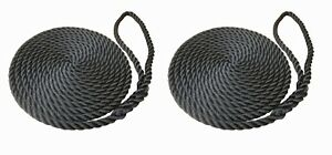 2 x 12 MTS OF 16MM BLACK SOFTLINE MOORING ROPES / WARPS / LINES BOATS