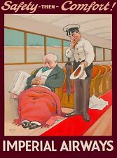 Safety then Comfort Imperial Airways Britain England Vintage Travel Poster Print