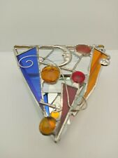 Triangle Stained Glass Style Trinket Box, Celestial Moon, Key, Mirror, Handmade