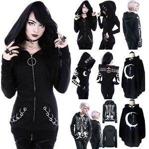 Gothic Women Girls Punk Skull Hooded Sweat Hoodies Jacket Coat Cosplay Top Black