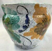 VTG Small Hand Painted Italian Pottery Planter Textured White Glaze Floral
