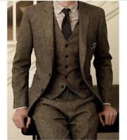 Custom Size Slim Fit Vintage Wool Tweed 3-Piece Tan Khaki Herringbone Suit