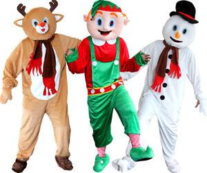 ADULT CHRISTMAS MASCOT ELF REINDEER SNOWMAN PLUSH QUALITY BIG HEAD FANCY DRESS