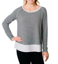 NEW Kersh Women's French Terry Boat-Neck Relaxed Fit Pullover Top Grey Stripe L