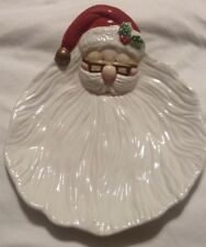 Collectible Christmas Omnibus Fitz and Floyd Santa with Glasses Serving Plate!