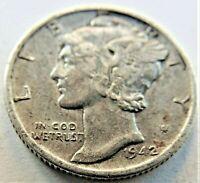 1942 S UNITED STATES, Mercury Dime grading VERY FINE.
