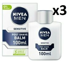 3 x NIVEA For Men - SENSITIVE Post Shave Balm Witch Hazel + Chamomile 0% Alcohol