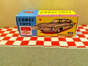 Corgi Toys 245  Buick Riviera  EMPTY Repro box ONLY  NO CAR