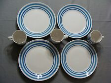 3 Mainstays Dinner Plates & 3 Cups With Light Blue Rings