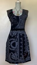 Desigual Grey & Black Patterned Stretch Fitted Knee Length Dress Size M