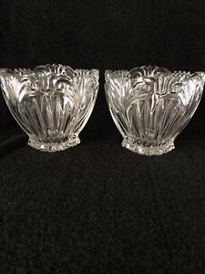 2 Heavy Lead Crystal Votive Cut Glass Candle Holders New
