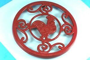 Red Rooster Cast Iron Trivet. New.
