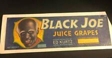 Advertising 30's Vintage Label Sign Black Joe Juice grapes Ed Kurtz