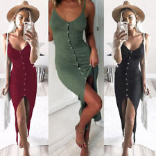 Women Holiday V Neck Bodycon Front Split Ladies Party Summer Beach Mini Dress