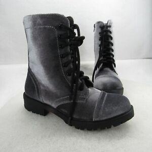 Madden Girl PREX Women's Size 7.5US Combat Boots Lace Up Side Zipper GRY Velvet