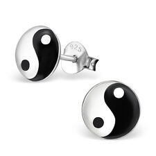 Pair of Yin Yang Logo Ear Studs 925 Sterling Silver Earrings Boys Mens (W26)