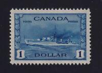 Canada Sc #262 (1942) $1 deep blue Destroyer Mint VF NH MNH