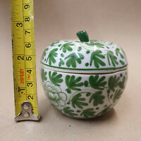 Handcrafted Apple Ceramic Ornament Trinket Box Case Bowl