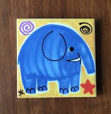 Hand Painted Ceramic Drinks Coaster Elephant  Made in Italy