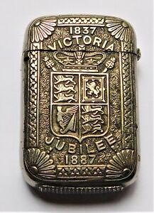 NO RESERVE Queen Victoria 1887 Jubilee Vesta Case Match Safe Vintage Antique
