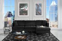 Mid Century L Shape Couch, Tufted Velvet Sectional Sofa, Hardwood Frame (Black)