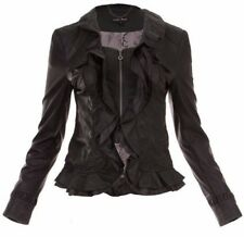 Caroline Morgan  Black  Leather Look  Jacket  SIZE 8 Small S Waterfall BNWT