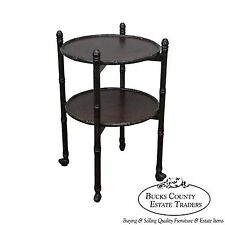 Faux Bamboo Asian Style Low 2 Tier Etagere Rolling Cart