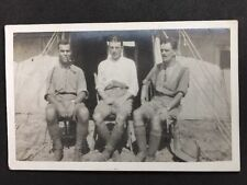 Vintage Postcard: Military RP #M180: 3 Soldiers Overseas: Tent : Dogtags
