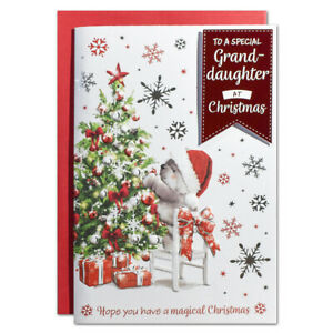GRANDDAUGHTER CHRISTMAS CARD ~ TREE CUTE DESIGN - QUALITY CARD & LOVELY VERSE