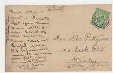 Miss Ada Pattyson Leek Road Hanley Stoke On Trent 1912 358a