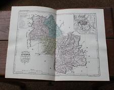 1850 Carte Géographique Atlas époque couleur Département 38 Isère Grenoble