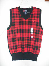 Chaps Sweater Vest Black Red Plaid 100% Cotton Size:Large(14-16) New without tag