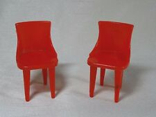 Set of 2 Dark Red Vintage Plasco Dollhouse Kitchen Chairs