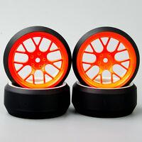 4PCS 1/10 RC Speed 3 Degree Tires Tyre & Wheel Set DHO Rim For HPI Drift Car
