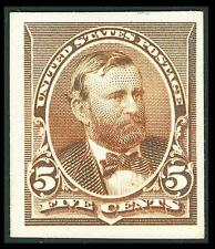 US #223P4; 5¢ GRANT PLATE PROOF ON CARD, VF-NGAI-HR, FRESH AND SHARP!