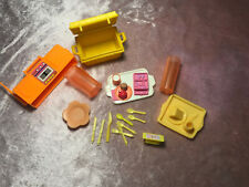 Lot 17 Barbie Picnic ORANGE Yellow COOLER Food Trays Utensils Cell Phone Pitcher