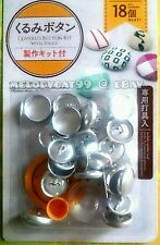 "DIY 18mm (0.7"") Fabric Covered Button Kit + 18 Buttons, PUSHER TOOL INCLUDED!"