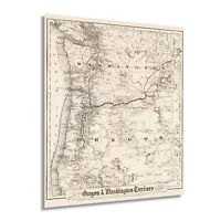 1880 Oregon and Washington Territory Township Map Vintage Wall Art Poster Decor