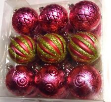 18 PINK & GREEN BALL SHATTER RESISTANT 2 1/4 IN CHRISTMAS ORNAMENT DECORATION