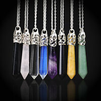 Natural Crystal Healing Point Chakra Hexagonal Gemstone Pendant Necklace Jewelry