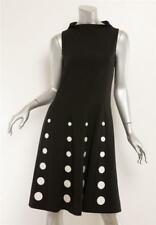 MOSCHINO Black Fit Flare Embroidered Polka Dot Mock Neck Sleeveless Dress 6 NEW