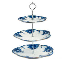 Gzhel Porcelain 3-Layer Dessert Rack Cake Stand Cupcakes Server Pastry Stand