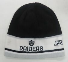 Oakland Raiders NFL Black Silve White Beanie Hat Cap