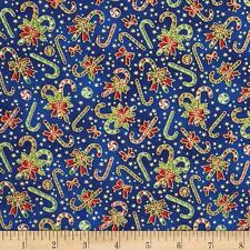 Seasons Greetings Candy Canes Blue Fabri-Quilt 100% Cotton fabric by the yard