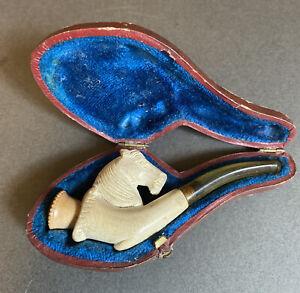 Antique Meerschaum Pipe Cheroot Holder In Case With Horses Head