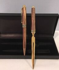 NIB 2 Piece Set Wood and Gold Tone Ball Point Pen & Letter Opener Set In Box