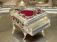 Silver Plated Jewellery Box Piano For Necklaces Vintage
