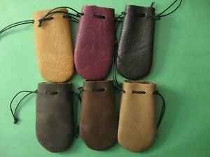 CLEARANCE LOT OF 6 SMALL  LEATHER COIN POUCH OR BAGS   FREE SHIPPING IN USA 1120