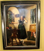 "Margarete Pfeifer(1862-1889)""Dirndlanprobe"" Öl/Leinwand 60 cm x 42 cm,Sign.1883"