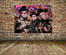 Run DMC Mr Brainwash Grafiti Hip Hop Legends Huge 36 x 24 Canvas Print